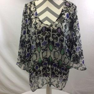 Tops - Patterned Sheer Boho Style Women Blouse